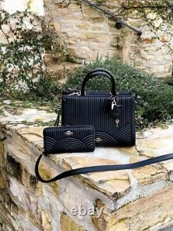 NWT Coach Large Zoe Art Deco Quilted Leather Satchel / Wallet black F80821