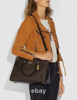 NWT Coach Mia Satchel F76643 Signature Brown Black tote shoulder balptop bag