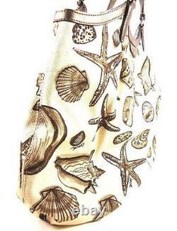 NWT Coach Signature Stripe Shell Print Beach Starfish Shoulder Bag Tote F29063