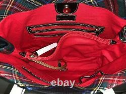 NWT Dooney & Bourke Tartan Plaid Victoria Carryall Tote Black RP $178