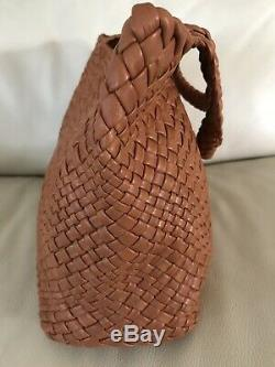 NWT-FALOR -ITALYRUST Sewn-in Pockets -Hand Woven Soft Leather Tote #7349T-XL
