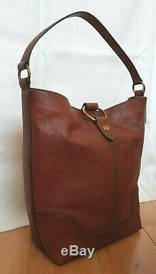 NWT Frye Ring Hobo Front Zip Pocket Shoulder Bag Cognac Tan Leather 4DB319 $398