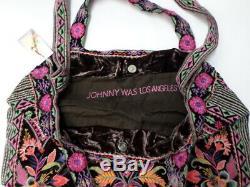 NWT Johnny Was JWLA Ioana Velvet Tote Bag OL33530220