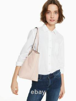 NWT Kate Spade Larchmont Ave Logo Penny Pink/Beige Leather Large Tote WKRU5619