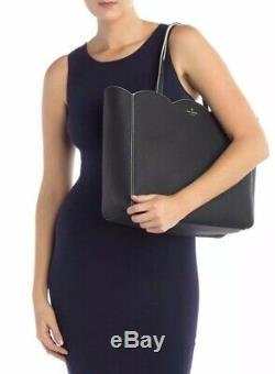 NWT Kate Spade Leewood Place Rainn Black Tote Large Handbag Scallop Zip top $328
