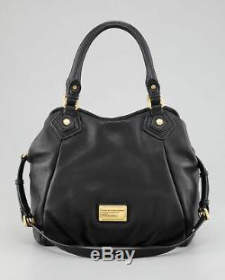 NWT MARC by MARC JACOBS Classic Q Fran Natasha Leather Hobo Shoulder Bag BLACK