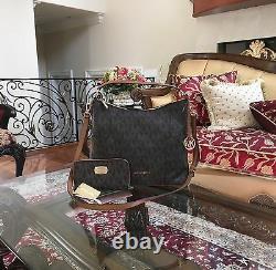NWT, MICHAEL KORS ANITA MK MONOGRAM LARGE HOBO/CROSSBODY HANDBAG+WALLET$516 Brown