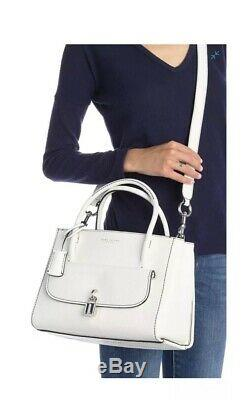 NWT Marc Jacobs Lock That Leather Tote Bag White silver
