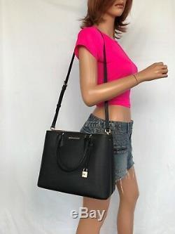 NWT Michael Kors Large Pebbled Leather Satchel Handbag Black Shoulder Bag Gold