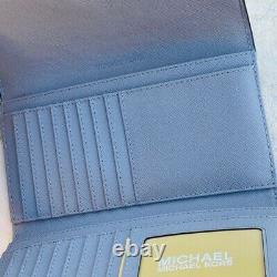 NWT Michael Kors Signature Mott Satchel Handbag/Wallet white/grey