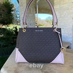 NWT Michael Kors Signature Nicole Large Shoulder handbag/Wallet Signature blush