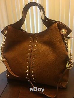 NWT Michael Kors Uptown Astor Large Leather Studded Shoulder Bag Walnut $448