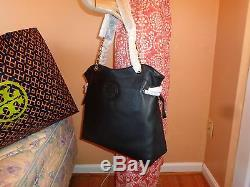 NWT TORY BURCH MARION Slouchy BLACK Leather Shoulder Tote $595