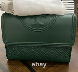 NWT Tory Burch Fleming Large Leather Shoulder Bag Norwood Green AUTHENTIC $500+