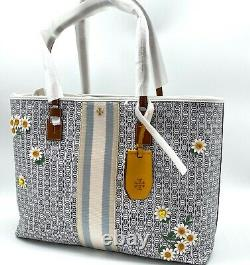NWT Tory Burch Gemini Link Large Applique Embroidered flower Coated Canvas Tote