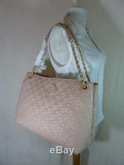 NWT Tory Burch Light Oak Pink Quilted Leather Marion EW Slouchy Tote $550