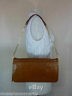 NWT Tory Burch Luggage Brown Leather BOMBE Reva Shoulder Bag/Clutch $350