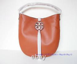 NWT Tory Burch Miller Metal Slouchy Leather Hobo Bag Aged Camello Tan AUTHENTIC