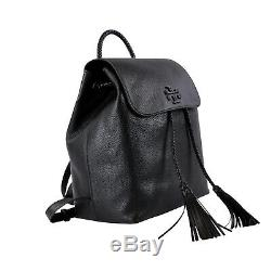 NWT Tory Burch Pebble Leather Taylor Backpack w Tassel in black $525+