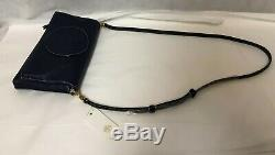 NWT Tory Burch Perforated Logo Fold-over Leather Crossbody Bag # 36812, Navy