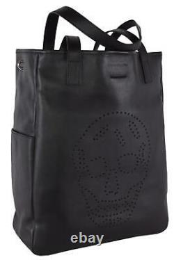 New Alexander Mcqueen AM 324906 Leather Perforated SKULL Large Tote Purse Bag