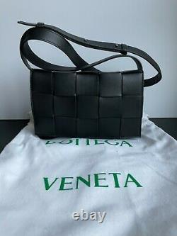 New Authentic Bottega Veneta Black Cassette Crossbody Bag $2100