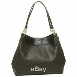 New Authentic Coach F27972 Lexy Shoulder Bag Purse Signature Purse Brown/Black