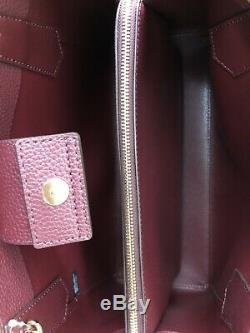New Authentic Michael Kors Kimberly Leather Large EW Satchel Handbag Merlot