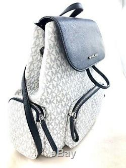 New Authentic Michael Kors Large Cargo Travel Backpack Optic White/ Navy