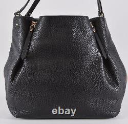 New Burberry $1,290 Black Leather Nova Check Large MAIDSTONE Handbag Purse Tote