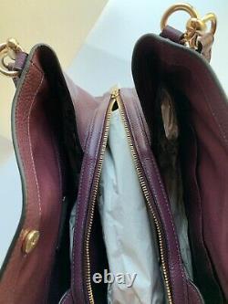 New Coach 80268 Hallie Boysen Berry Pebble Leather Shoulder Bag