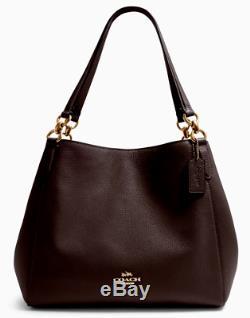 New Coach 80268 Hallie Pebble Leather Shoulder Bag handbag Oxblood 1