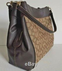 New Coach F27579 Lexy Outline Signature Shoulder Bag handbag Khaki / Brown