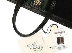 New Gucci Ophidia Large Black Suede Patent Leather Web Logo Leather Tote Bag