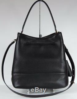 New MICHAEL KORS KIP LARGE pebble LEATHER BUCKET BAG BLACK Gold shoulder bag