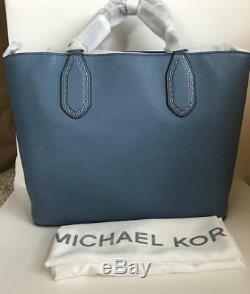 New Michael Kors Denim Brooklyn Large Leather Tote Satchel Bag NWT $498