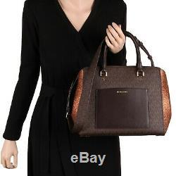 New Michael Kors Large BENNING Satchel Crossbody Bag in Brown/Bronze