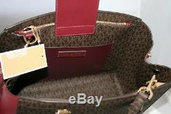 New Michael Kors MK Signature Purse Large Satchel Bag Brown Maroon Oxblood $348