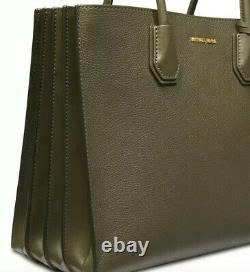 New Michael Kors Mercer large pebble leather Accordion gussets Bag olive gold