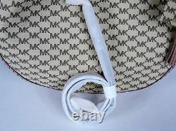 New Michael Kors Natural Fawn Lauryn Large Shoulder Bag coated canvas MK logo