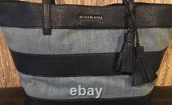 New Michael Kors Stripe Canvas Large East West Tote bag tassel washed denim