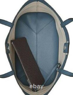 New Michael Kors Striped Canvas Large Jet Set E W Tote bag anchor brown denim