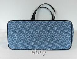New Michael Kors carter denim Mk Open Tote designer Logo print X Large blue bag