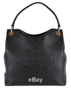 New Prada 1BC051 Black Leather Vitella Daino Embossed Logo Handbag Purse Tote