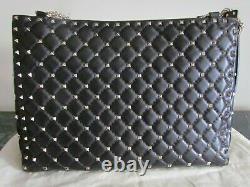 New VALENTINO Garavani Black Rock Studded, Chain, Quilted Shopper handbag Large