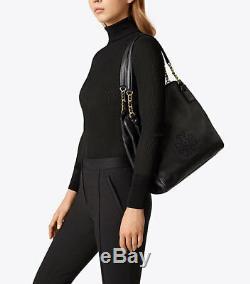 Nwt $498 Tory Burch Harper Tote Black Large Pebbled Leather Shoulder Bag