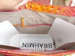 Nwt Brahmin Brayden Passion Fruit Melbourn Croc Embos Leather Shoulder Tote Bag