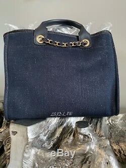Nwt Chanel Navy Blue Denim Deauville Tote Gold 2019 19a Gst Grand Shopping Bag