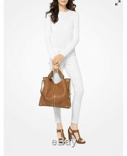 Nwt, Michael Kors Astor Studded Lamb Leather Large Hobo/crossbody Handbag $500