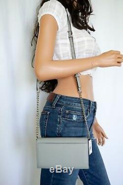 Nwt Michael Kors Jet Set Lg Phone Crossbody Saffiano Leather Bag Clutch Ash Grey